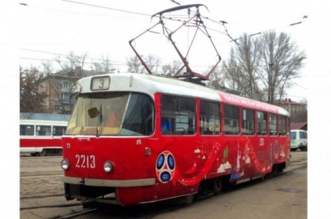 В Самаре выпустили ещё 3 вагона трамвая символикой ЧМ-2018